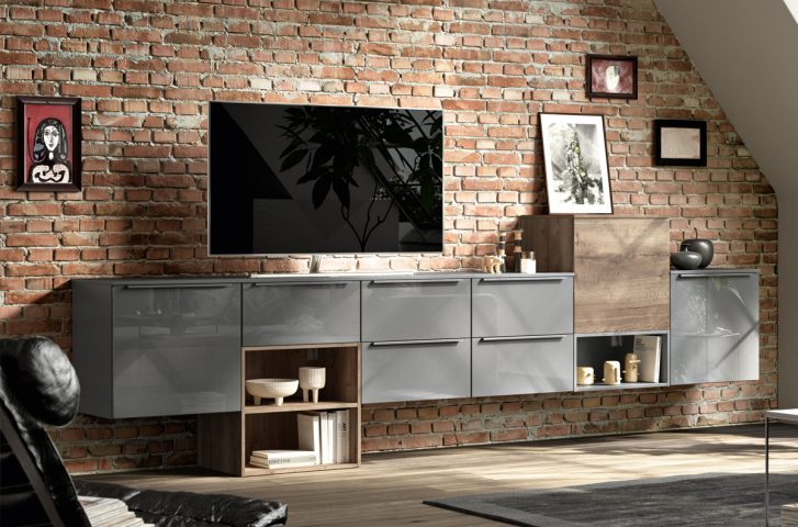 Trendfarbe Hochglanz grau mit dieser Wohnwand setzen Sie Akzente
