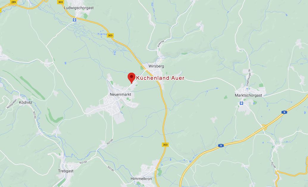Anfahrt Küchenland Auer, Küchenland Auer - Neuenmarkt - Kulmbach, Oberfranken